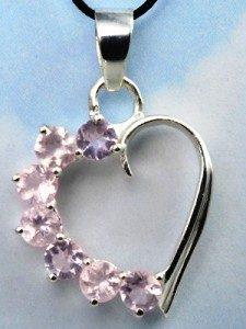 серьги с розовым кварцем сердце